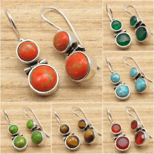 925 Silver Plated PURPLE COPPER TURQUOISE & Gemstone Choice 2 Stone Earrings