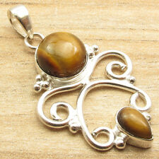 TIGER'S EYE & Other Gemstone Variation, 925 Silver Plated ANTIQUE Pendant