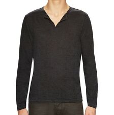 John Varvatos Star USA Men's Burnout Eyelet Henley Shirt Charcoal $128 msrp NWT