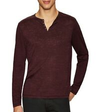 John Varvatos Star USA Men's Burnout Eyelet Henley Shirt Oxblood $128 msrp NWT