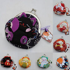 Silk Lucky Cat Wallet Kimono Fabric Coin Mini Purse Bags Accessories Charm Noble