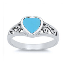 Women 8mm 925 Silver Filigree Turquoise Heart Promise Vintage Style Ring Band