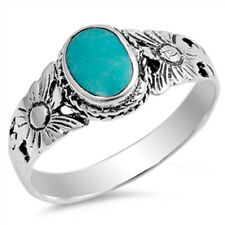 Women 9mm 925 Sterling Silver Oval Simulated Turquoise Vintage Style Ring Band