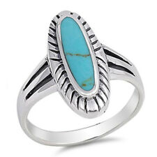 Women 21mm 925 Sterling Silver Oval Simulated Turquoise Vintage Style Ring Band