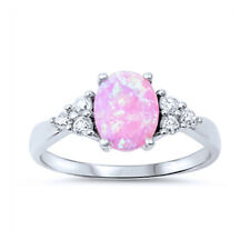 Women 8mm 925 Sterling Silver Oval Pink Opal Engagement Vintage Style Ring Band