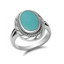 Women 20mm 925 Sterling Silver Turquoise Cocktail Vintage Style Ring Band