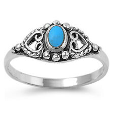 Women 8mm Sterling Silver Oval Simulated Turquoise Heart Vintage Style Ring Band