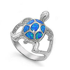 Women 21mm 925 Sterling Silver Simulate Blue Opal Turtle Vintage Style Ring Band