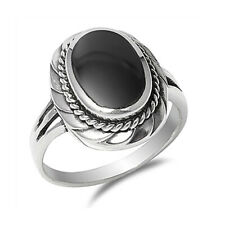 Women 20mm 925 Sterling Silver Black Onyx Ladies Vintage Style Ring Band