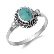 Women 11mm Sterling Silver Simulated Turquoise Ladies Vintage Style Ring Band