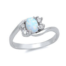 Women 7mm 925 Sterling Silver White Opal Bypass Ladies Vintage Style Ring Band