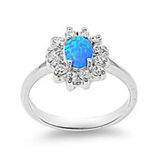 Women 13mm 925 Sterling Silver Blue Opal Flower Ladies Vintage Style Ring Band