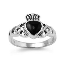 Women 11mm Silver Heart Black Onyx Heart Celtic Claddagh Vintage Style Ring Band