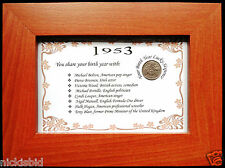 """FRAMED """"YOU SHARE YOUR BIRTH YEAR WITH"""" LUCKY SIXPENCE GIFT - IDEAL BIRTHDAY"""