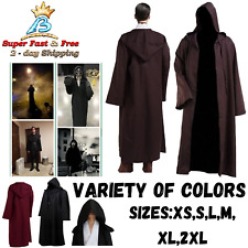 Mens Hooded Robe Full Length Adult Kids Jedi Cloak Sith Knight Cosplay Costume