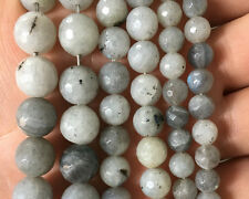 Natural White Labradorite Gemstone Beads Round Faceted Stone Beads 6mm 8mm 10mm