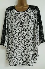 NEW Ex Evans Plus Size  16-32 Bird Floral Print Black Lace Chiffon Top Blouse