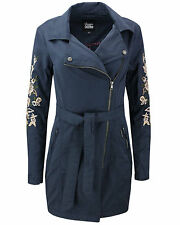 KHUJO Ladies transitional jacket Coat Trench POPPY blue Embroidery Spring NEW