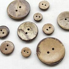 Upick 4 Sizes Brown Natural Coconut Buttons 2 Holes Craft Clothe Sewing Button