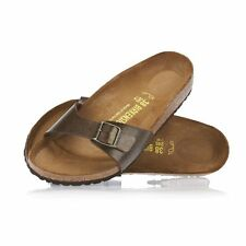 Birkenstock Madrid Ladies Extra Wide Gold Slip On Arch Support Mule Shoe Sandal