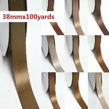 """91.44m Double Sided 0.5"""" /13mm Discount Satin Ribbon Ivory to Brown"""