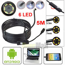 5M 6LED 5.5/7/8mm Android Endoscope Waterproof Borescope USB Inspection Camera