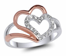 De Lelu Two Tone Sterling Silver Rose Gold Plated Two Hearts Cubic Zirconia Ring