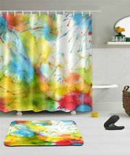 "Abstract Bathroom Mat Waterproof Polyester Fabric Shower Curtain 12 Hook 72"" 95"
