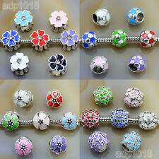 Multicolor Tibet Silver Big Hole Spacer Beads Fit European Bracelet Wholesale