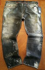 NWT $379.00 True Religion Mens Ricky W Flaps Super T Faded Black Destroyed Jeans