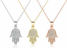 De Lelu Sterling Silver CZ Gold Filled Hamsa Hand Fatima Pendant Necklace