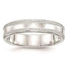 925 Sterling Silver 5mm Edged Design Polished Wedding Ring Band Sizes 4 - 12
