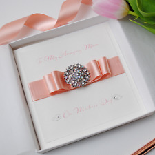 Luxury Mother's Day Handmade Personalised Boxed Card with PEACH ribbon