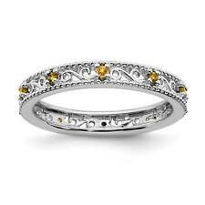 925 Sterling Silver Rhodium-Plated Prong Set Citrine Stackable Ring Sz 5 - 10