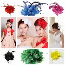 Women Girl Flower Feather Corsage Hair Clips Wedding Bridal Hairband Brooch Pin