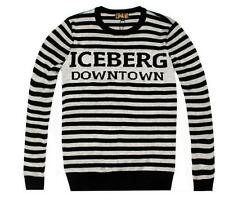 2017 Men's Iceberg Long Sleeves Downtown Graphic Printed Cotton Stripe Sweaters
