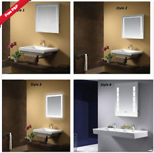ILLUMINATED LED BATHROOM MIRROR TOUCH SENSOR DEMISTER PAD IP44 & SHAVER SOCKET