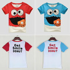 Kids Cartoon Letter Tops Baby Boys Girls Short Sleeve Cotton Summer Tee T-Shirts