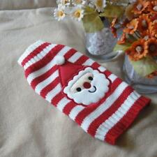 Santa Claus Pattern Puppy Dog Clothes Red and White Striped Sweater Dog Clothes
