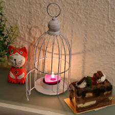 Vintage White Bird Cage Tea Light Candle Holder Candlestick Wedding Table Decor