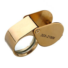 New Golden 30X21mm Jewelers Eye Loupe Magnifier Magnifying glass Lens With Case