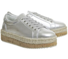 Womens Office Crave Cork Espadrille Platform Trainers SILVER LEATHER Flats