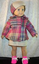 "Doll Clothes fit American Girl 18"" inch Jacket Skirt Beret' 3pc Plaid Pink Blue"