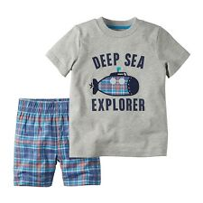New Carters Baby Boys 2-Pc Deep Sea Explorer T-Shirt & Plaid Short Set Pick Size