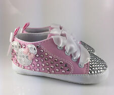 Customised Baby Girl Infant Minnie Mouse Crib Shoes Romany Bling Crystal Reborn