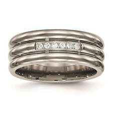 Chisel Titanium Polished Grooved Round Cut 6mm Wedding Band Size 6 to 13