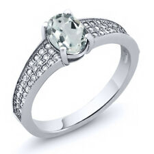 1.58 Ct Oval Sky Blue Aquamarine 925 Sterling Silver Ring