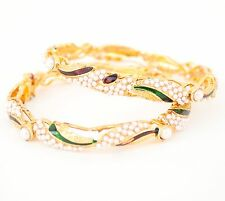 Bollywood Indian Openable Gold Plated Peacock Curvy Bangle Set with Blue Enamel