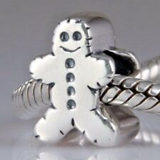 925 Solid Sterling Silver Gingerbread Man Charm Bead