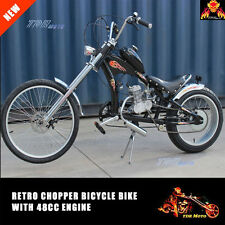Black 48cc Motorised Retro Vintage Low Rider Cruiser Chopper Bicycle Push Bike